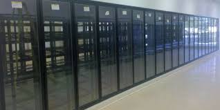 walk in cooler box with glass display doors and shelving for grocery commercial cooling