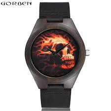 online get cheap cool wristwatch aliexpress com alibaba group skull face eyes fire nature bamboo wood watches men s cool quartz wristwatches black genuine leather strap