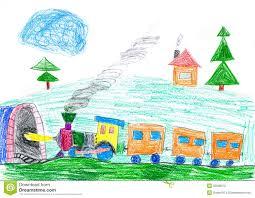 Le Train De Vapeur Va Au Souterrain Le Dessin De L Enfant