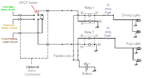 wiring of fog and driving lights the wiring diagram and parts list are shown above
