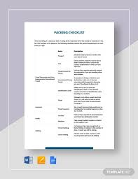 Vacation Packing Checklist Pdf 13 Packing List Examples Pdf Word Examples