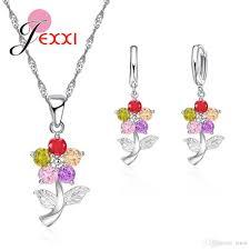 2019 jei delicate bijoux full crystal flower pendant necklace drop earrings 925 sterling silver elegant wedding party gift jewelry from tenni
