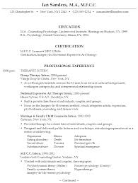 Counseling Psychologist Sample Resume Sample Resume for someone seeking a job as an MFCC Therapist 1