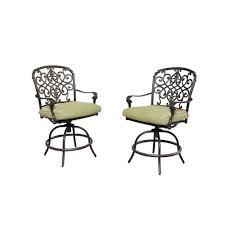 hampton bay edington swivel patio high dining chairs with bare cushions cast back pair balcony height