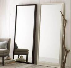 Mirror Tiles Decorating Ideas Leaning Oversized Floor Mirror With Wooden And White Wall For Home 83