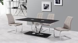 6 seater black glass dining table and grey chairs homegenies 6 seater dining table and chairs