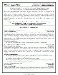 Good Construction Management Functional Resume Project Management
