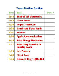 Daily Routine Chart For 10 Year Old Tween Bedtime Routine Bedtime Routine After School