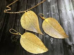 real aspen gold leaf jewelry set real leaf pendant leaves earrings dipped leaves jewelry necklace earrings set gift for her bridal gift