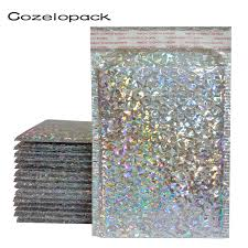 <b>50PCS Holographic Metallic</b> Bubble Mailer Glamour Colorful Silver ...