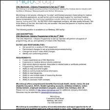 Entry Level Machinist Resume Examples Ataumberglauf Verbandcom