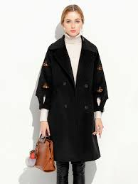 double ted three quarter sleeves loose fit thick women long pea coat