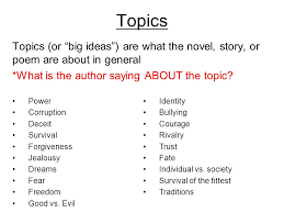 theme statements vs topics theme a lesson the reader learns from 2 topics