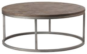 gabby colby parquet wood round coffee table transitional