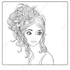 A Young Beautiful Girl With A Wreath Of Flowers On Her Head
