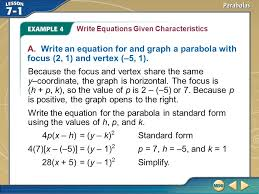 example 4 write equations given characteristics a