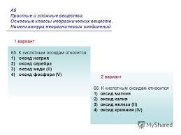 Презентация на тему А Простые и сложные вещества Основные  Основные классы неорганических веществ Номенклатура неорганических соединений 1 вариант 2 А5