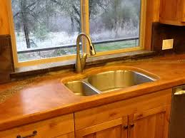 remarkable pin concrete countertop and backsplash with built in copper trivet feat aluminum double washbasin inspirations