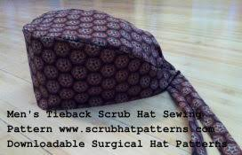 Scrub Cap Pattern Magnificent Men's Tieback Surgical Scrub Hat Sewing Pattern Crafting Sewing