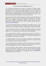 The History Of Personal Statement Examples For Resume