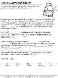 Jesus calms the storm , Mark 4, worksheet (for older kids) | Jesus ...