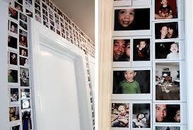 polaroid photos cover a whole door frame