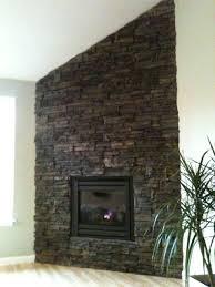 drystack stone veneer fireplace contemporary living room