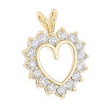 14k gold round diamond heart pendant for women 2 4ct open heart design yellow image