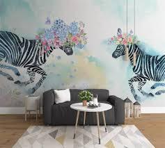 Beibehang Custom Wallpaper 3d Photo Mural Hand Painted Floral Zebra