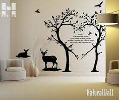 love trees and deers vinyl wall decals wall stickers wall art wall decor nursery on wall art decals with hight 80cm deer head vinyl wall paper decal art sticker t111 in home