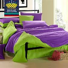 purple green solid bed covers bedding bed sheet sets comforter s duvet cover set pillow sham king queen twin size in bedding sets from home garden on