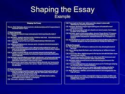 the writing process shaping the essay what is shaping the essay  7 shaping the essay