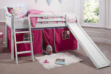 bunk bed with slide and tent. Cabin Bed Mid Sleeper Bunk With Slide Pink Tent 6007WHITE And O