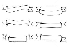 手描き 帯リボン 線画 モノクロ イラスト素材 5338914 フォト