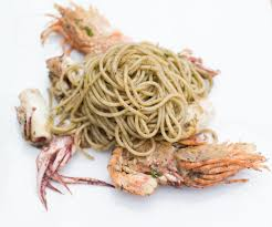 Squid ink pasta with lobster prawns ...