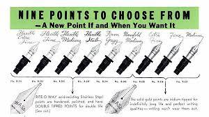Nib Size Chart Esterbrook Pen Nib Fountain Pen Nibs