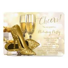 Corporate Holiday Party Invite Gold High Heels Champagne Corporate Holiday Party Invitation