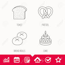 Toast Chart Cake Pretzel And Bread Rolls Icons Toast Linear Sign Edit