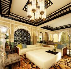 moroccan home interior design with unique room divider and solid white  coffee table ...