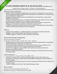 Resume Templates Customer Service Impressive Customer Service Manager Combination Resume Sample Customer Service
