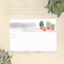 Free Recipe Cards Printable- 5X7 Succulent - Natalie Malan