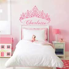 t07033 eco friendly baby girl crown wall sticker custom name decals wall sticker kids room girls bedroom wall art decoration baby room wall decals baby room