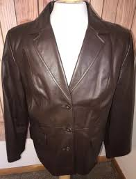 terry lewis classic luxuries women s sz large brown leather jacket coat