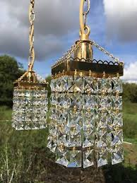 pair of small vintage brass crystal chandeliers square glass ceiling lights
