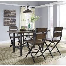 dining set wood. reclaimed wood and metal 5-piece counter height dining set - kavara