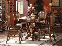 acme dresden 5 pc round counter height dining table set in brown cherry oak