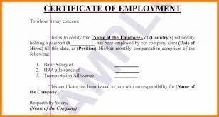Sample Of Certificate Of Employment Compensation Cepoko Com