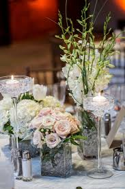 Flower Vases For Weddings Using White Flower Wedding Table Centerpiece  Along With Square Cubic Clear Glass Flower Vase And Tall Glass