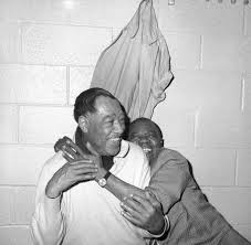 duke ellington © jazzinphoto duke ellington left and louis armstrong in dressing room at new york s madison square