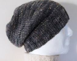 Easy Knit Hat Pattern Straight Needles Best CHARLEY SLOUCH Hat PATTERN Mans Handknit Slouchy Beanie Pattern Easy